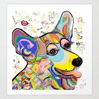 corgi Art Prints featuring Corgi by EloiseArt