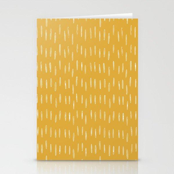 Raindrop Abstract Boho Pattern, Yellow Stationery Cards
