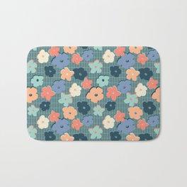 Peach and Aqua Flower Grid Bath Mat