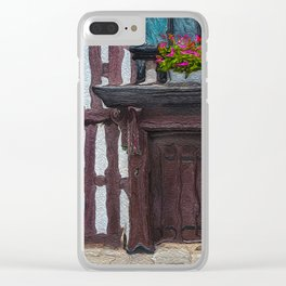 Flowers Over Doorway of Half-Timbered House Clear iPhone Case