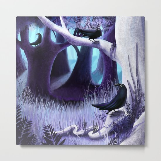 The Ostragon Woodlands Where Bright Ravens Watch Metal Print