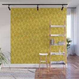 Retro Dog Paisley - Yellow Wall Mural