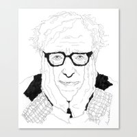 woody allen Canvas Prints featuring Woody Allen by lena kuzina