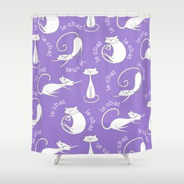 Le Chat - Purple Shower Curtain