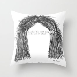 Short hair (famous tumblr quote) by Pien Pouwels Throw Pillow