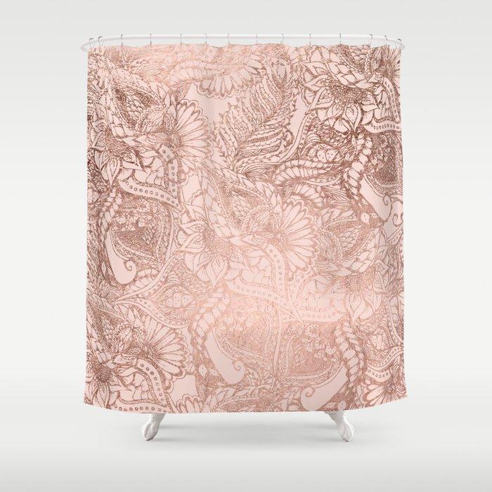 Modern rose gold floral illustration on blush pink Shower Curtain ...