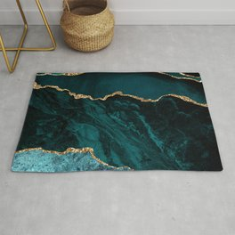 Teal Blue Emerald Marble Landscapes Rug