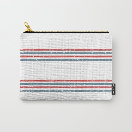 Maritime Beach Pattern- Red and Blue Stripes on White- Horizontal #Society6 Carry-All Pouch