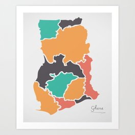 Ghana Map with states and modern round shapes Art Print