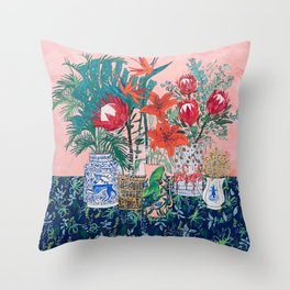 The Domesticated Jungle - Floral Still Life Throw Pillow