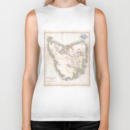 Vintage Map of Tasmania (1837) Biker Tank