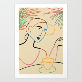 COFFEE IN THE GARDEN Art Print