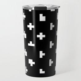 Black cris cross glitch Travel Mug