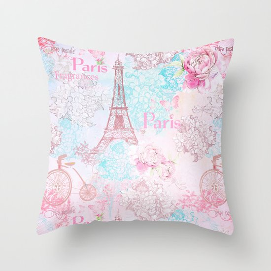 Pink Shabby Chic Throw Pillows : I love Paris- Vintage Shabby Chic in pink - Eiffeltower France Flowers Floral Throw Pillow by ...