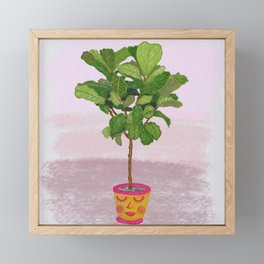 Fiddle Leaf Fig Tree and Happy Planter Framed Mini Art Print