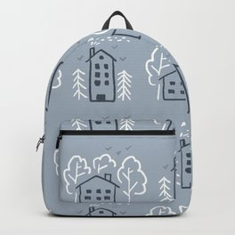 Pattern house and trees of children's drawing Backpack
