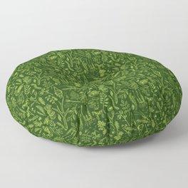 Woodland walk - dark acid green Floor Pillow