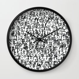 alphabet - letters / font collection - black and white Wall Clock