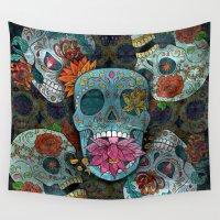sugar skulls Wall Tapestries featuring Sugar Skulls Art by Spooky Dooky