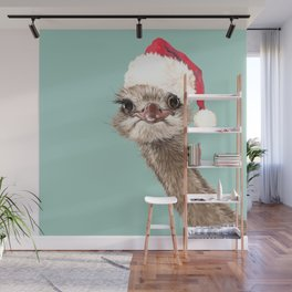 Christmas Ostrich in Green Wall Mural