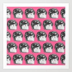Minifigure Pattern - Pink Art Print