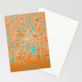 Orlando, FL, USA, Gold, Blue, City, Map Stationery Cards
