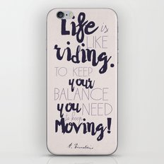A. Einstein quote on life for motivation inspiration and strenght, typography, illustration, decor iPhone & iPod Skin