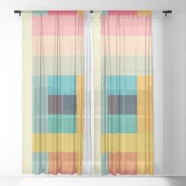 Colorful Tetris Ubume Sheer Curtain