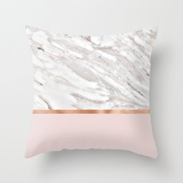 Calacatta marble on rose gold blush Throw Pillow