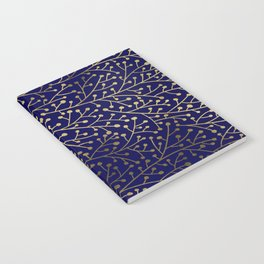 Gold Berry Branches on Navy Notebook