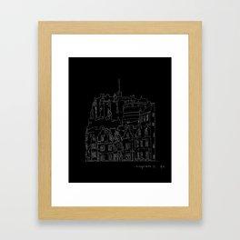 Edinburgh Castle in one continuous line Framed Art Print