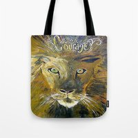 courage Tote Bags featuring Courage by Anna Hanse