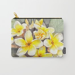 Frangipani White Carry-All Pouch