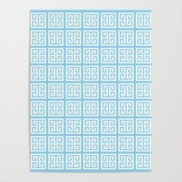 Baby Blue Greek Key Pattern Poster