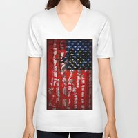flag V-neck T-shirts featuring Flag by Milton