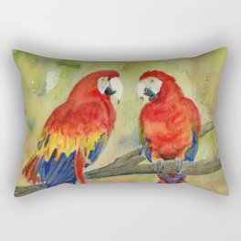 Scarlet Macaw Parrots Rectangular Pillow