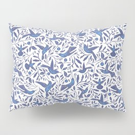Delft Blue Humming Birds & Leaves Pattern Pillow Sham
