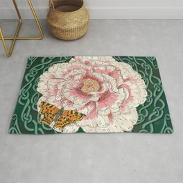 Celtic Peony and Comma Butterfly Rug