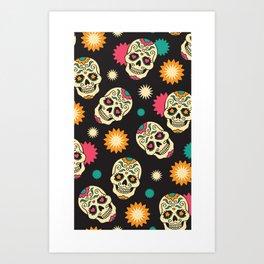 Hipster Skull - Hipster Skeleton - Funky Skull Pattern - Pattern Art Print