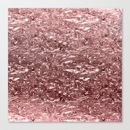 Rose Gold Pink Liquid Metallic Chrome Metal Canvas Print