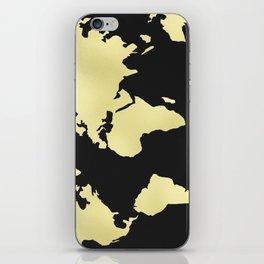 Gold Rush World Map on Black iPhone Skin