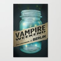 vampire weekend Canvas Prints featuring VAMPIRE WEEKEND by Marc Osborne Illustration