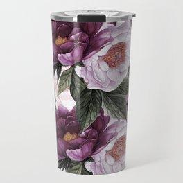 Purple Plum Pink Watercolor Peonies and Greenery Travel Mug