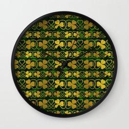 Irish Shamrock -Clover Gold and Green pattern Wall Clock