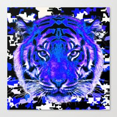 camouflage tiger on blue Canvas Print