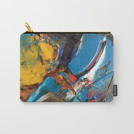 Abstract Oil Painting Texture Blue Yellow Red Carry-All Pouch