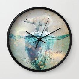 Polar Bear Adrift Wall Clock