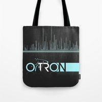 tron Tote Bags featuring Tron Minimalist by Ed Burczyk