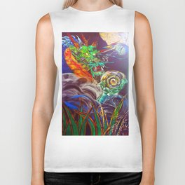 """""""The Aged and Wise Old Dragon Conquers some Orbs."""" Biker Tank"""