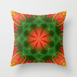 Ruby Red Spider Lily Kaleidoscope Throw Pillow